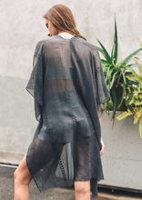 Load image into Gallery viewer, Arie - Charcoal Boho Kimono w/ Sequins