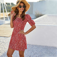 Load image into Gallery viewer, Red Floral Print Women Sexy Square Neck Dress