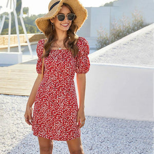 Red Floral Print Women Sexy Square Neck Dress