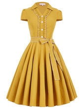 Load image into Gallery viewer, Simply stunning amber swing dress with heart buttons FREE worldwide delivery