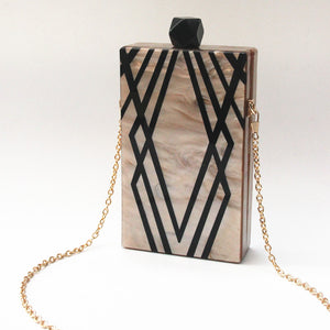 *Luxury Acrylic Clutch bag art deco design* FREE USA Shipping!