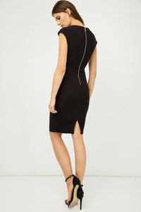 Solid Colour Dress with Cap Sleeves Black Color