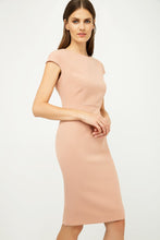 Load image into Gallery viewer, Solid Colour Dress with Cap Sleeves Antique Rose Color.