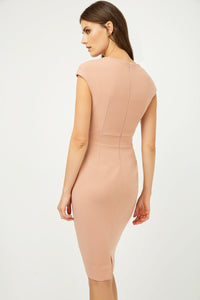 Solid Colour Dress with Cap Sleeves Antique Rose Color.