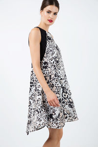 Sleeveless A Line Leopard Print Chiffon Dress