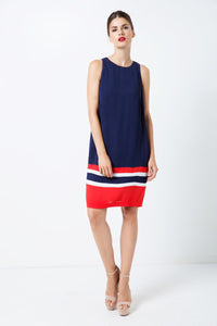 Sleeveless Blue Dress with Multicolour Panel Detail