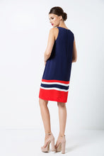 Load image into Gallery viewer, Sleeveless Blue Dress with Multicolour Panel Detail