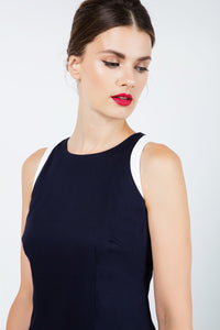 Navy Blue Sleeveless dress with Contrast Detail