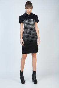 Puff Sleeve Ombre Dogtooth Dress with Button Detail