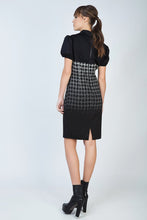Load image into Gallery viewer, Puff Sleeve Ombre Dogtooth Dress with Button Detail