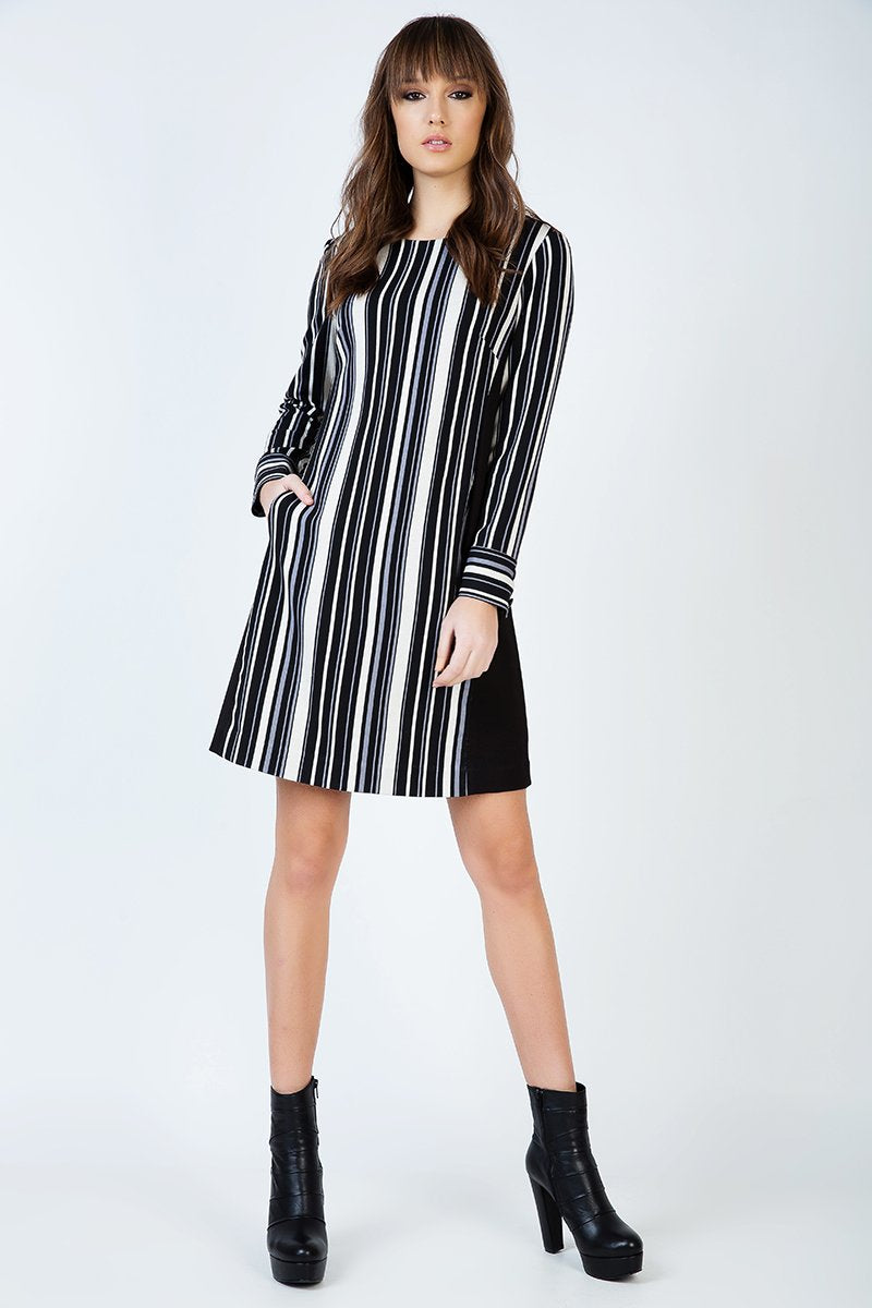 Striped A Line Dress with Pockets