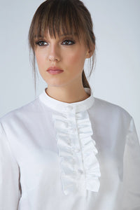 White Frill Detail Blouse in Poplin Fabric