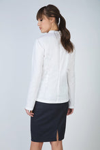 Load image into Gallery viewer, White Frill Detail Blouse in Poplin Fabric
