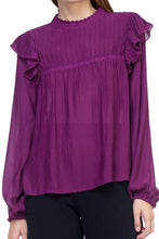 Load image into Gallery viewer, Purple Ruffle Mock Neck Long Sleeve Top