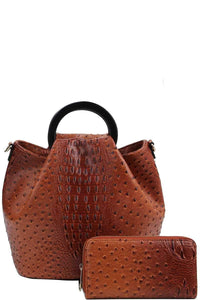 Stylish Croco Pattern Satchel & Wallet Set