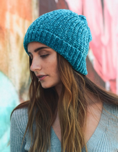 Load image into Gallery viewer, Soft Teal Chenille Beanie