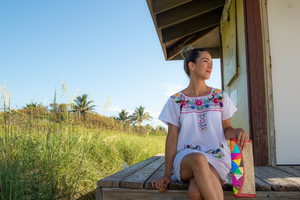 White Mexican Dress with Multicolored Flowers