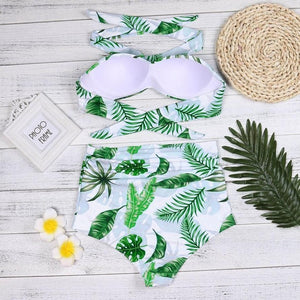 Embroidery Sexy Women Bikinis Set Leaves Printing