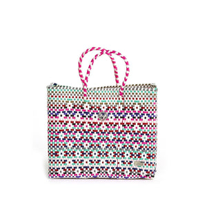 SMALL PINK PATTERNED TOTE BAG