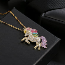 Load image into Gallery viewer, Swarovski Crystal Rainbow Unicorn Necklace in 14K Gold - 2 Options