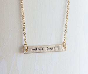Mama bear necklace, mama and bear cub necklace