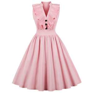 Beautiful pink frilled swing dress available in Plus sizes!