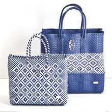 Load image into Gallery viewer, SMALL BLUE AZTEC TOTE BAG