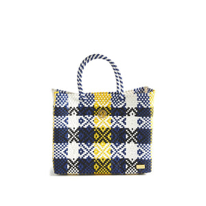 SMALL YELLOW BLUE TOTE BAG