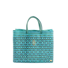 Load image into Gallery viewer, TURQUOISE BOOK TOTE BAG AND CLUTCH