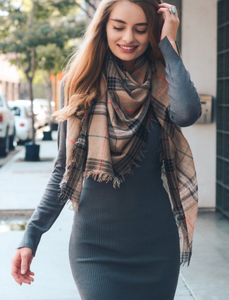 Mocha Mix Plaid Lightweight City Scarf