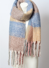 Load image into Gallery viewer, Peach Mixed Plaid Scarf