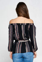 Load image into Gallery viewer, STRIPED OFF THE SHOULDER TOP WITH WAIST TIE AND