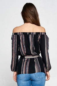 STRIPED OFF THE SHOULDER TOP WITH WAIST TIE AND