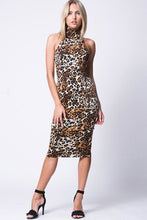 Load image into Gallery viewer, MOCK NECK ANIMAL PRINT MIDI DRESS