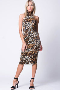 MOCK NECK ANIMAL PRINT MIDI DRESS