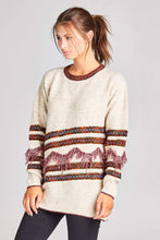Load image into Gallery viewer, MULTI COLOR KNIT SWEATER WITH FRINGE DETAIL