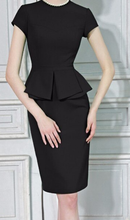 Load image into Gallery viewer, Gorgeous Peplum midi wiggle dress in green or black