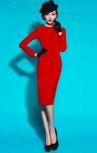 Load image into Gallery viewer, Stunning bright red wiggle dress long sleeves