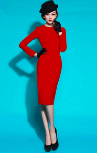 Stunning bright red wiggle dress long sleeves
