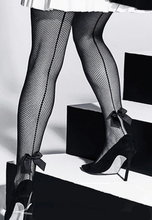 Load image into Gallery viewer, Stunning Seamed black fishnet pantyhose with Bows ON SALE! FREE WORLDWIDE SHIPPING!