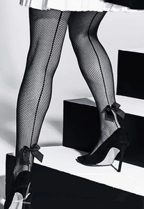 Stunning Seamed black fishnet pantyhose with Bows ON SALE! FREE WORLDWIDE SHIPPING!