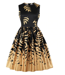 Gorgeous Black and gold swing dress. Free worldwide shipping