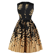 Load image into Gallery viewer, Gorgeous Black and gold swing dress. Free worldwide shipping