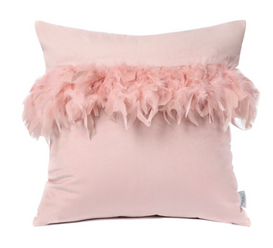 Pretty Feather Cushion cover in Pink or Grey