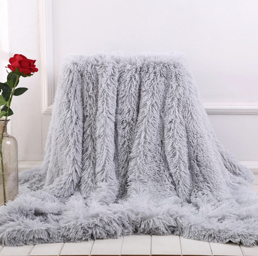 Super soft Throw blanket In light Grey or Milky white