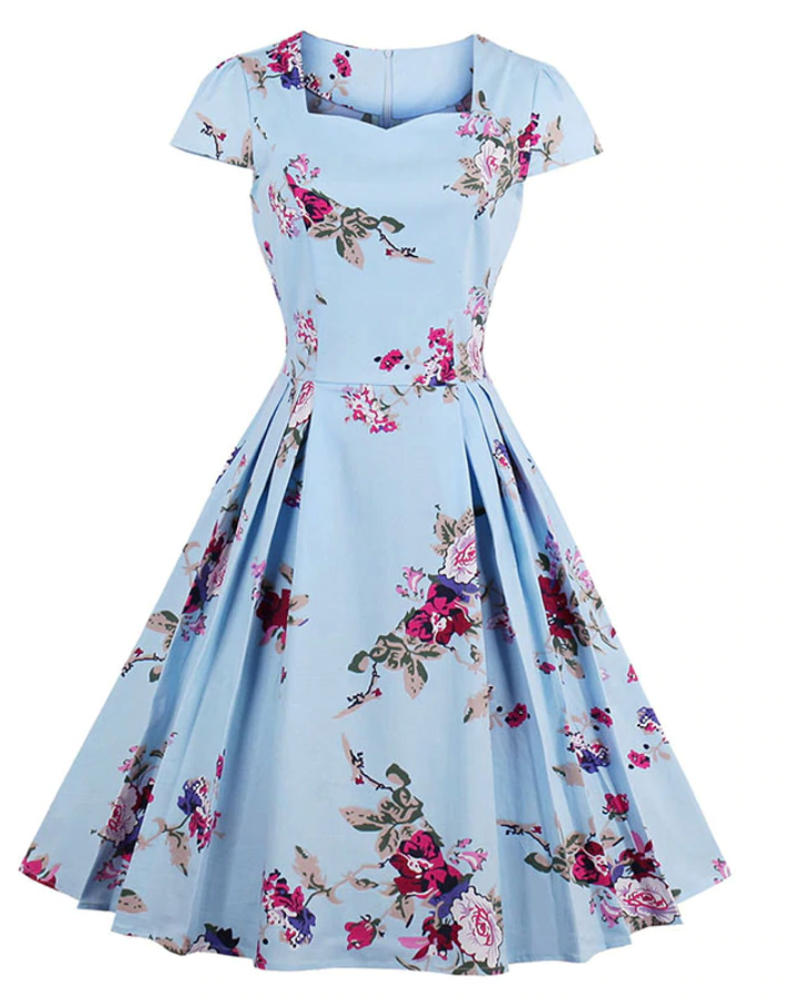 Beautiful blue floral swing dress sweetheart style
