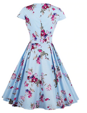 Load image into Gallery viewer, Beautiful blue floral swing dress sweetheart style