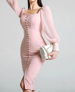 Pink girly button up Pencil Dress