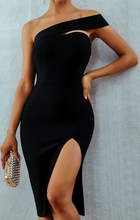 Load image into Gallery viewer, Sexy One shoulder midi Bodycon wiggle dress
