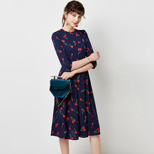 Load image into Gallery viewer, Vintage O Neck Casual A Line Cherry Print Dresses